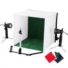 Craphy Table Top Accent Light Studio Continuous Portable Lamp with Stand for Portable Video, Portriat and Product Photography, Black/Blue/White/Red/Green 5 kinds of cloths, Two Pieces 50W LED Lights