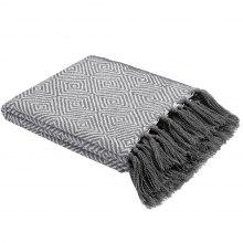 LANGRIA Geometric Pattern Knitted Tasseled Fringe Throw Blanket Reversible Cozy Soft Warm Bed Sofa Couch Multifunctional Throw Lightweight Easy Care for All Seasons, 50