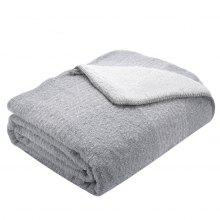 "LANGRIA Boucle Sherpa Reversible Throw Blanket Cozy Soft Warm for Bed Sofa Couch Lightweight Easy Care, 50"" x 60"", Gray"