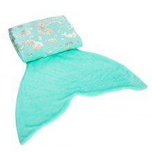 LANGRIA Mermaid Tail Blanket with Glossy Foil Marine Pattern Soft Warm Flannel Mermaid Blankets for Kids Children Teenagers Easy Care All Seasons, 56