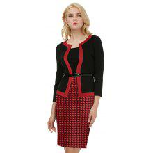 Kenancy Female Work Dress Fashion Color Stiching Three Quarter Sleeve Pencil Dress With Belt