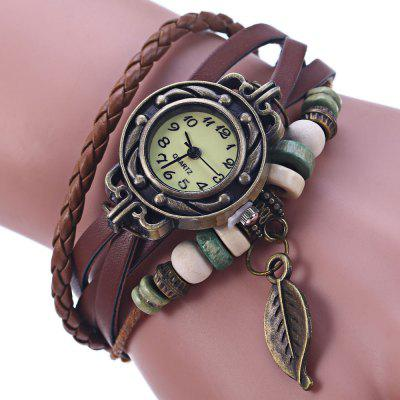 Vintage Ladies Leaf Pendent Bracelet Quartz Watch