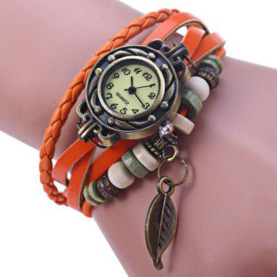 Buy Vintage Ladies Woven Strap Bracelet Quartz Watch ORANGE for $3.66 in GearBest store