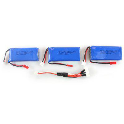 Extra 3Pcs 7.4V 1300mAh Battery + Cable Set Fitting for MJX X101 Quadcopter