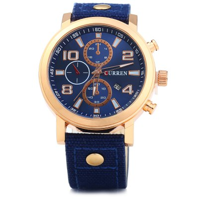 Curren 8199 Men Quartz Watch with Date FunctionMens Watches<br>Curren 8199 Men Quartz Watch with Date Function<br><br>Band material: Canvas + Leather<br>Brand: Curren<br>Case material: Stainless Steel<br>Clasp type: Pin buckle<br>Display type: Analog<br>Movement type: Quartz watch<br>Package Contents: 1 x Curren 8199 Watch<br>Package size (L x W x H): 26.500 x 5.300 x 2.000 cm / 10.433 x 2.087 x 0.787 inches<br>Package weight: 0.094 kg<br>Product size (L x W x H): 25.500 x 4.300 x 1.000 cm / 10.039 x 1.693 x 0.394 inches<br>Product weight: 0.064 kg<br>Shape of the dial: Round<br>Special features: Date, Decorating small sub-dials<br>The band width: 2.2 cm / 0.87 inches<br>The dial diameter: 4.3 cm / 1.69 inches<br>The dial thickness: 1.0 cm / 0.39 inches<br>Watch color: Black, Blue, Brown, Yellow, Golden and Blue, Red, Black and Golden<br>Watch style: Casual<br>Watches categories: Male table<br>Wearable length: 17.5 - 22 cm / 6.89 - 8.66 inches