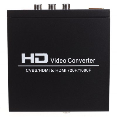 Buy 1080P HDMI to HDMI AV CVBS Video Converter Adapter BLACK for $38.33 in GearBest store