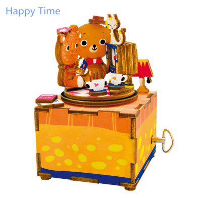 Robotime AM310 DIY 3D Puzzle Hand-cranked Music Box Wooden Model Kit Home Office Decoration