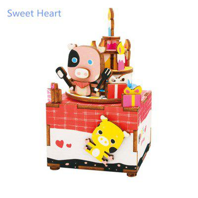 Robotime AM309 DIY 3D Puzzle Hand-cranked Music Box Wooden Model Kit Home Office Decoration