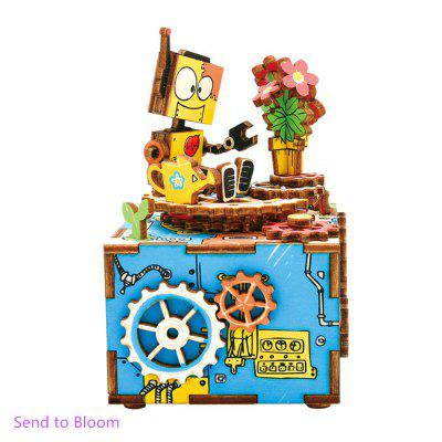 Robotime AM305 DIY 3D Puzzle Hand-cranked Music Box Wooden Model Kit Home Office Decoration