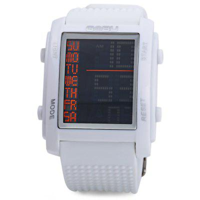 Gobu 1586 Big Digital Multifunctional LED Sports WatchSports Watches<br>Gobu 1586 Big Digital Multifunctional LED Sports Watch<br><br>Available Color: Black,Blue,Brown,Gray,White<br>Band material: Rubber<br>Brand: Gobu<br>Case material: PC<br>Clasp type: Pin buckle<br>Display type: Digital<br>Movement type: Digital watch<br>Package Contents: 1 x Gobu 1586 Watch<br>Package size (L x W x H): 26.00 x 4.70 x 2.00 cm / 10.24 x 1.85 x 0.79 inches<br>Package weight: 0.0930 kg<br>People: Male table<br>Product size (L x W x H): 25.00 x 3.70 x 1.00 cm / 9.84 x 1.46 x 0.39 inches<br>Product weight: 0.0630 kg<br>Shape of the dial: Rectangle<br>Special features: Day, Stopwatch, Date, EL Back-light, Alarm Clock<br>The band width: 2.0 cm / 0.79 inches<br>The dial diameter: 3.7 cm / 1.45 inches<br>The dial thickness: 1.0 cm / 0.39 inches<br>Watch style: LED, Outdoor Sports<br>Water resistance: 30 meters<br>Wearable length: 17 - 22.5 cm / 6.69 - 8.86 inches