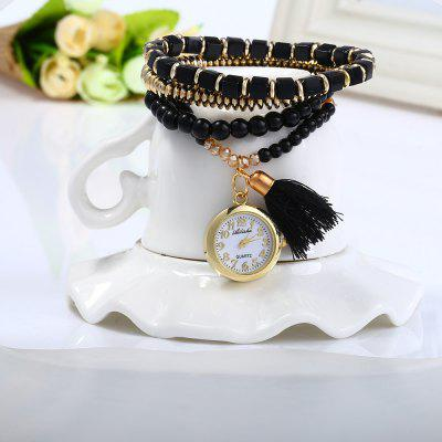 Ailisha Tassel Pendant Ladies Bead Chain Quartz Watch