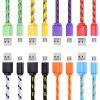 2M Micro USB Flat Braided Charger Cable - ORANGE