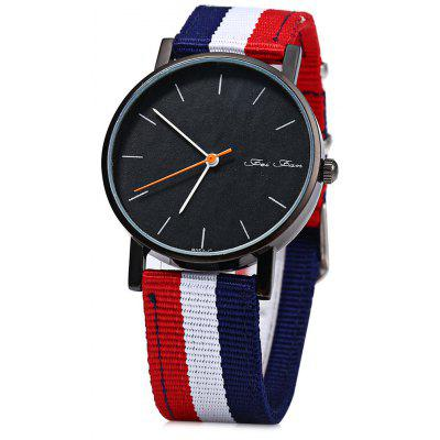 Feifan 62052G Men Quartz hodinky Stripe Pattern Canvas Band