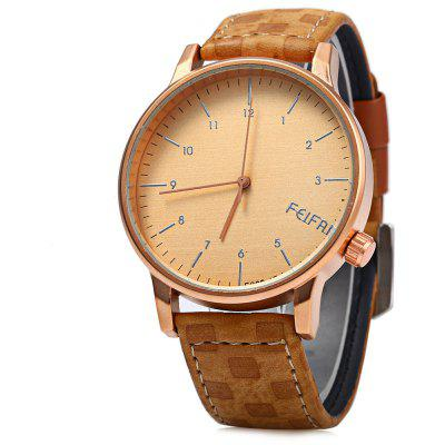 Feifan 62086G Stylish Plaid Leather Band Men Quartz Watch