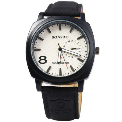 SONSDO 6923 Male Quartz Watch with Leather StrapMens Watches<br>SONSDO 6923 Male Quartz Watch with Leather Strap<br><br>Available Color: Brown,Black<br>Band material: Leather<br>Brand: SONSDO<br>Case material: Stainless Steel<br>Clasp type: Pin buckle<br>Display type: Analog<br>Movement type: Quartz watch<br>Package Contents: 1 x SONSDO 6923 Quartz Watch<br>Package size (L x W x H): 26.000 x 5.000 x 2.000 cm / 10.236 x 1.969 x 0.787 inches<br>Package weight: 0.084 kg<br>Product size (L x W x H): 25.000 x 4.000 x 1.000 cm / 9.843 x 1.575 x 0.394 inches<br>Product weight: 0.054 kg<br>Shape of the dial: Round<br>Special features: Decorating small sub-dials<br>The band width: 2.0 cm / 0.79 inches<br>The dial diameter: 4.0 cm / 1.57 inches<br>The dial thickness: 1.0 cm / 0.39 inches<br>Watch style: Fashion<br>Watches categories: Male table<br>Wearable length: 18 - 22.5 cm / 7.09 - 8.86 inches