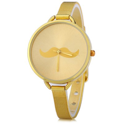 Mustache Pattern Luxury Quartz Chain Watch for Women