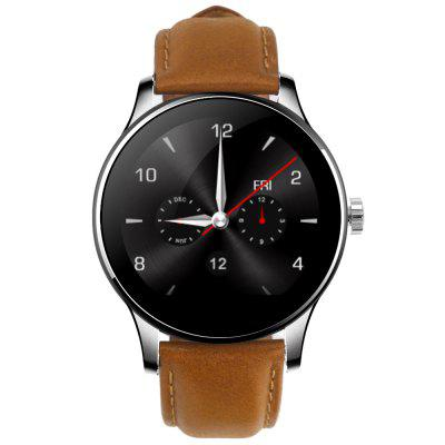 K88H Bluetooth Smart WatchSmart Watches<br>K88H Bluetooth Smart Watch<br><br>Alert type: Vibration, Ring<br>Band material: Stainless Steel<br>Battery Capacity: 300mAh<br>Battery Type: Polymer batteries<br>Bluetooth calling: Call log sync,Dialing,Phone call reminder,Phonebook<br>Bluetooth Version: Bluetooth 4.0<br>Case material: Metal<br>Compatability: Android 4.4 / iOS 7.0 and above system<br>Compatible OS: Android, IOS<br>Dial size: 4.4 x 4.4 x 1.2 cm / 1.73 x 1.73 x 0.47 inches<br>Find phone: Yes<br>Groups of alarm: 5 groups<br>Health tracker: Heart rate monitor,Pedometer,Sedentary reminder,Sleep monitor<br>Language: Dutch,English,French,German,Italian,Polish,Portuguese,Russian,Spanish<br>Locking screen: 6 kinds<br>Messaging: Message checking,Message reminder<br>Notification: Yes<br>Other Functions: Stopwatch, Siri function, Calculator, Alarm<br>Package Contents: 1 x K88H Smart Watch, 1 x USB Charging Cable, 1 x English and Chinese Manual<br>Package size (L x W x H): 19.30 x 6.70 x 5.20 cm / 7.6 x 2.64 x 2.05 inches<br>Package weight: 0.230 kg<br>People: Unisex watch<br>Product size (L x W x H): 25.00 x 4.40 x 1.20 cm / 9.84 x 1.73 x 0.47 inches<br>Product weight: 0.077 kg<br>RAM: 64MB<br>Remote Control: Camera remote,Music remote<br>ROM: 128MB<br>Screen: IPS<br>Screen resolution: 240 x 240<br>Screen size: 1.2 inch<br>Shape of the dial: Round<br>The band width: 2.2 cm / 0.87 inches<br>Waterproof: Yes<br>Waterproof Rating: IP54