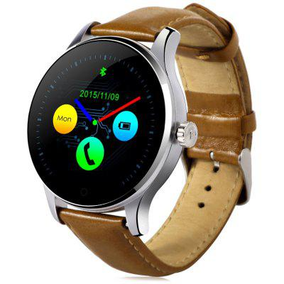 K88H Bluetooth Smart Watch - LEATHER BAND BROWN