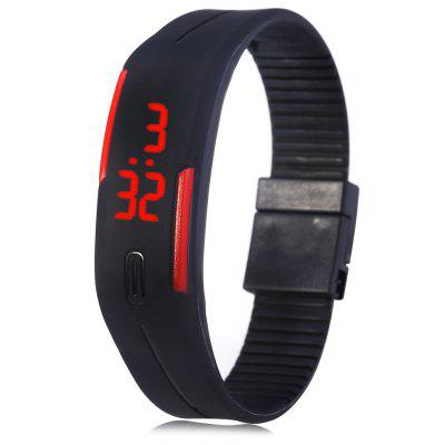 LED Watch Date Red Digital Rectangle Dial Rubber Band - BLACK - akció kezdete: 2018/4/18 4:00