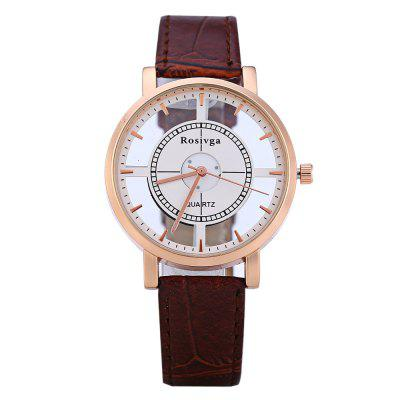 Rosivga 1310 Transparent Dial Female Quartz WatchWomens Watches<br>Rosivga 1310 Transparent Dial Female Quartz Watch<br><br>Available Color: White and Black,Brown,Black,White<br>Band material: Leather<br>Brand: Rosivga<br>Case material: Alloy<br>Clasp type: Pin buckle<br>Display type: Analog<br>Movement type: Quartz watch<br>Package Contents: 1 x Rosivga Female Quartz Watch<br>Package size (L x W x H): 26.500 x 5.500 x 1.200 cm / 10.433 x 2.165 x 0.472 inches<br>Package weight: 0.056 KG<br>Product size (L x W x H): 23.500 x 3.800 x 0.900 cm / 9.252 x 1.496 x 0.354 inches<br>Product weight: 0.025KG<br>Shape of the dial: Round<br>Style: Fashion&amp;Casual<br>The band width: 1.6 cm / 0.63 inches<br>The dial diameter: 3.8 cm / 1.50 inches<br>The dial thickness: 0.9 cm / 0.35 inches<br>Watches categories: Female table<br>Wearable length: 18 - 22 cm / 7.09 - 8.66 inches