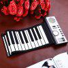 Flexible 61 Keys Silicone Roll-up Keyboard Piano - WHITE AND BLACK