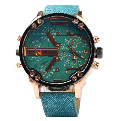 JUBAOLI Men Dual-movt Quartz Watch Decorative Sub-dialsMens Watches<br>JUBAOLI Men Dual-movt Quartz Watch Decorative Sub-dials<br><br>Available Color: Blue,Green,Yellow,Black<br>Band material: Leather<br>Brand: Jubaoli<br>Case material: Stainless Steel<br>Clasp type: Pin buckle<br>Display type: Analog<br>Movement type: Double-movtz<br>Package Contents: 1 x JUBAOLI Men Quartz Watch<br>Package size (L x W x H): 27.700 x 5.600 x 2.200 cm / 10.905 x 2.205 x 0.866 inches<br>Package weight: 0.115 kg<br>Product size (L x W x H): 26.700 x 4.600 x 1.200 cm / 10.512 x 1.811 x 0.472 inches<br>Product weight: 0.083 kg<br>Shape of the dial: Round<br>Special features: Date, Decorating small sub-dials<br>Style elements: Big dial<br>The band width: 2.3 cm / 0.91 inches<br>The dial diameter: 4.6 cm / 1.81 inches<br>The dial thickness: 1.2 cm / 0.47 inches<br>Watch style: Fashion<br>Watches categories: Male table<br>Wearable length: 20.0 - 24.3 cm / 7.87 - 9.57 inches