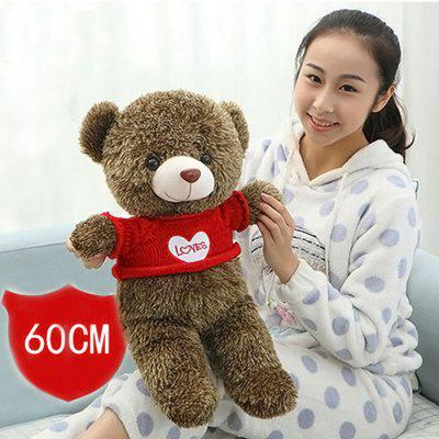 Youyoutu 23.6 inch Brown Bear Wearing Sweater Plush Toy Animal Home Decoration Girl Sweet Dream