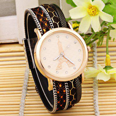 Women Diamond Quartz Watch Eiffel Tower Pattern Wristwatch