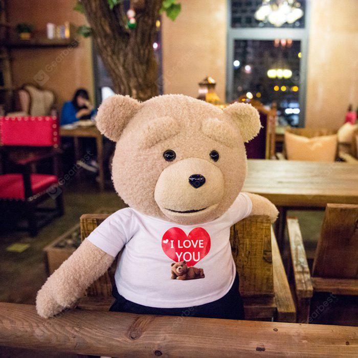 16 inch Ted Bear in White Shirt Talking and Singing Plush Toy Movie Theme  Home Decoration Sweet Dream