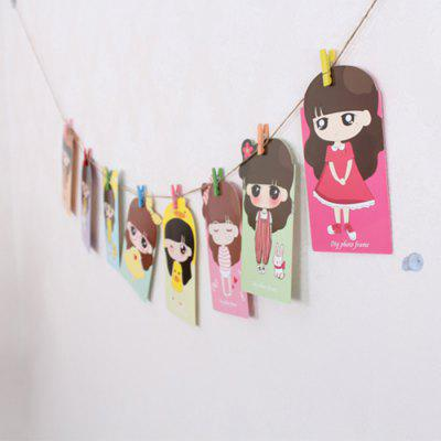 8Pcs Cartoon Girl 5 inch Paper Photo Frame Kit