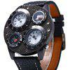 Shiweibao 1145 Dual Quartz Movt Watch with Leather Band - SILVER CASE