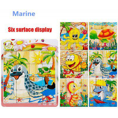 16Pcs Wooden 3D Puzzle Block Marine Puzzle Jigsaw Child Educational Toy