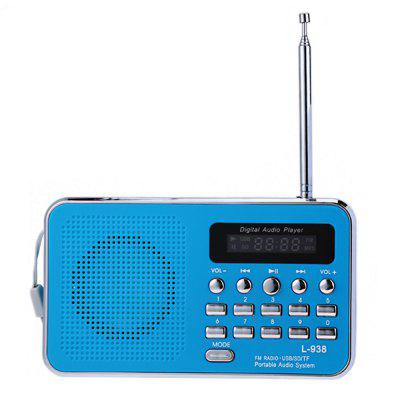 L - 938 Portable FM Radio MP3 PlayerSpeakers<br>L - 938 Portable FM Radio MP3 Player<br><br>Audio Source: SD card,TF/Micro SD Card<br>Battery Brand: BL - 5C<br>Battery Capacity: 800mAh<br>Battery Current: 10 - 20mA<br>Battery Type: Lithium ion battery<br>Battery Voltage: 3.7V<br>Charging Time: 2 - 3 hours<br>Charging Voltage: 5V<br>Color: Black,Blue,Pink,Red,White<br>Compatible with: MP5, Mobile phone, MP3, TF/Micro SD Card, PSP, PC, MP4<br>Connection: Wired, Wireless<br>Design: Portable, Multifunctional<br>FM Radio Frequency: 87.6 - 108MHz<br>Functions: Songs Track, AUX Function<br>Interface: TF Card Slot, SD Card Slot, 3.5mm Audio<br>Lasting Time: 2 - 3 hours<br>Material: Plastic<br>Model: L - 938<br>Package Contents: 1 x FM Radio MP3 Player, 1 x  USB Cable, 1 x Removable Buckle<br>Package size (L x W x H): 13.30 x 4.50 x 9.30 cm / 5.24 x 1.77 x 3.66 inches<br>Package weight: 0.3850 kg<br>Power Output: 3W<br>Power Source: Battery<br>Product size (L x W x H): 12.40 x 7.00 x 2.60 cm / 4.88 x 2.76 x 1.02 inches<br>Product weight: 0.1670 kg<br>S/N: 80dB<br>Standby time: 4 - 5 hours<br>Supports: FM, TF Card Music Playing, SD Card Music Playing<br>TF Card Extension: 32G to the Max.(Not Included)