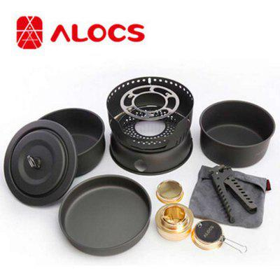 ALOCS 10 Piece Set Camping Pot with Windproof System