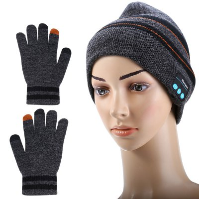 3-in-1 Bluetooth V3.0 + EDR Stereo Headphones Knitted Hat with Gloves