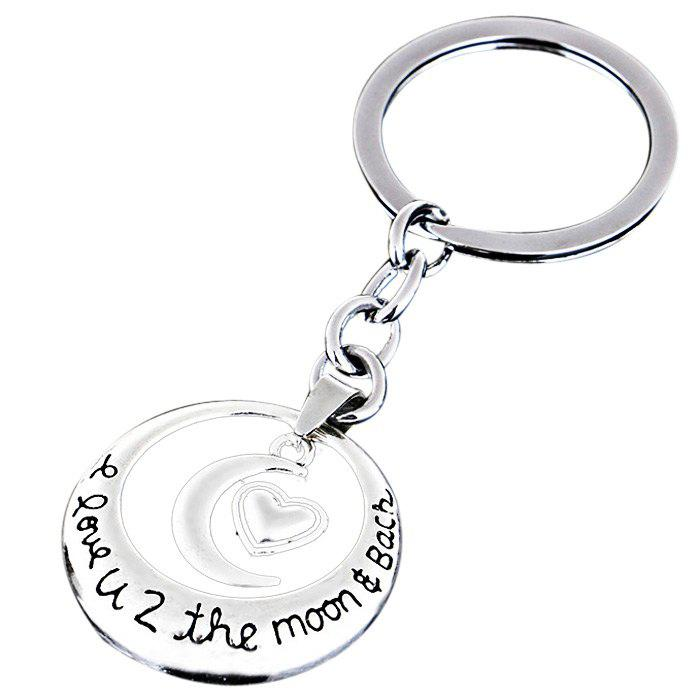 Heart Couple Zinc Alloy Lover Key Chain I Love You to the Moon Charm Valentine Gift