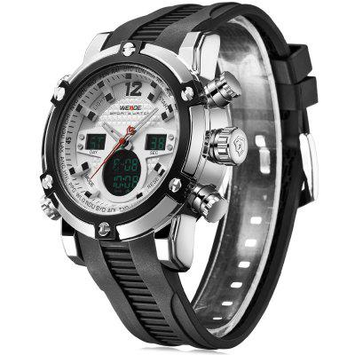 Weide 5205 Water Resistant Dual Movt Male LED Sports WatchSports Watches<br>Weide 5205 Water Resistant Dual Movt Male LED Sports Watch<br><br>Band material: PU<br>Brand: Weide<br>Case material: Stainless Steel<br>Clasp type: Pin buckle<br>Color: Red,Blue,Orange,Yellow,Black,White<br>Display type: Analog-Digital<br>Hour formats: 12/24 Hour<br>Movement type: Double-movtz<br>Package Contents: 1 x Weide 5205 Watch<br>Package size (L x W x H): 21.00 x 4.60 x 2.50 cm / 8.27 x 1.81 x 0.98 inches<br>Package weight: 0.1720 kg<br>People: Male table<br>Product size (L x W x H): 20.00 x 3.60 x 1.50 cm / 7.87 x 1.42 x 0.59 inches<br>Product weight: 0.0800 kg<br>Shape of the dial: Round<br>Special features: EL Back-light, Alarm Clock, Stopwatch, Date, Day<br>The dial diameter: 3.6 cm / 1.42 inches<br>The dial thickness: 1.5 cm / 0.59 inches<br>Watch style: Outdoor Sports, LED<br>Water resistance: 30 meters