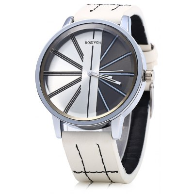 ROSIVGA 257 Men Quartz Watch Leather Band Wristwatch