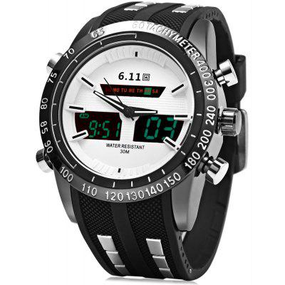 6,11 8150 Water Resistant Dual Movt Male LED Sports Watch