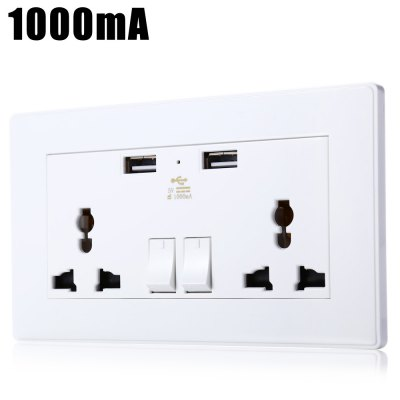 1000mA Universal Wall Socket Dual 2 USB Plug Switch Power Supply Plate