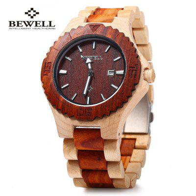Bewell ZS-W023B Male Wooden Quartz Watch