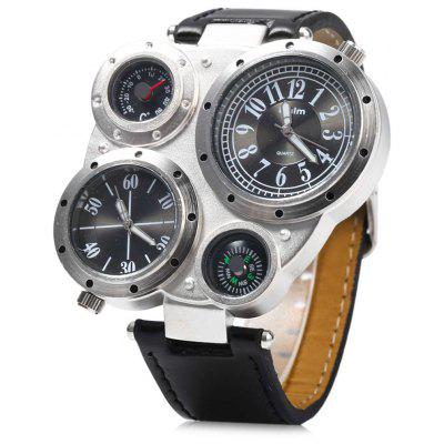 Oulm Multi - Function Men's Quartz Military Leather Wrist Watch