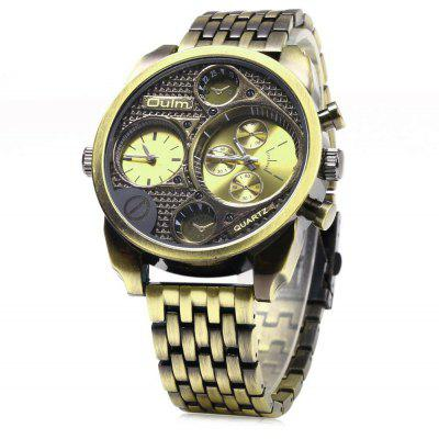 Oulm Stylish Waterproof Men Watch Analog with Double - movt Round Dial Steel Watch Band