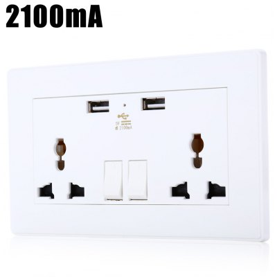2100mA Universal Wall Socket Dual 2 USB Plug Switch Power Supply Plate