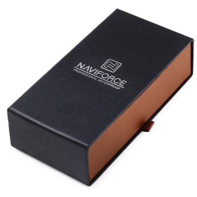 Naviforce Watch Box Paper MaterialWatch Accessories<br>Naviforce Watch Box Paper Material<br><br>Brand: NAVIFORCE<br>Color: Black<br>Material: Paper<br>Package Contents: 1 x Watch Box<br>Package size (L x W x H): 16.500 x 9.000 x 5.500 cm / 6.496 x 3.543 x 2.165 inches<br>Package weight: 0.131 kg<br>Product size (L x W x H): 15.500 x 8.000 x 4.500 cm / 6.102 x 3.150 x 1.772 inches<br>Product weight: 0.071 kg<br>Type: Box/case