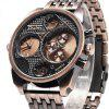 Oulm Stylish Waterproof Men Watch Analog with Double - movt Round Dial Steel Watch Band - RED BRONZED