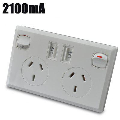 OM-AG2100 2100mA 2 Port USB Double AU Mains Power Wall Socket