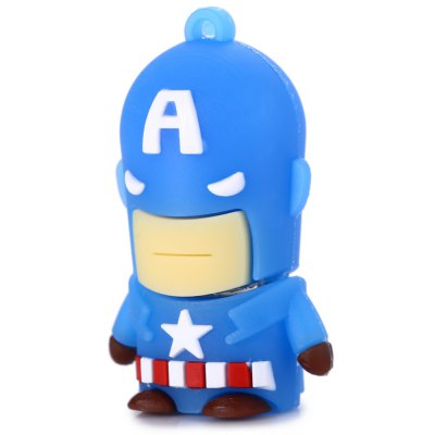 32GB Captain America USB 2.0 Stick / Flash Memory DriveUSB Flash Drives<br>32GB Captain America USB 2.0 Stick / Flash Memory Drive<br><br>Available Color: Blue<br>Capacity: 32G<br>Features: Cartoon, Dustproof<br>Interface: USB 2.0<br>Package Contents: 1 x 32GB Captain America USB 2.0 Stick<br>Package size (L x W x H): 5.500 x 3.800 x 2.800 cm / 2.165 x 1.496 x 1.102 inches<br>Package weight: 0.052 kg<br>Product size (L x W x H): 4.500 x 2.800 x 1.800 cm / 1.772 x 1.102 x 0.709 inches<br>Product weight: 0.012 kg<br>Style: Cartoon<br>Type: USB Stick