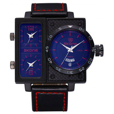 Skone 3901 3-Movt Men Quartz LED Watch Date Day Display