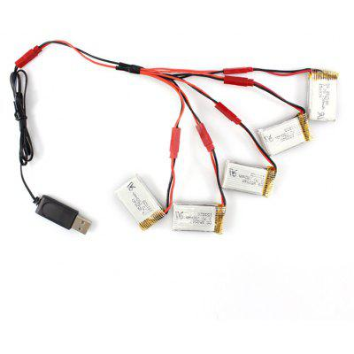5 x 3.7V 750mAh Battery + Charging Cable Set Fitting for SY X25 MJX X800 RC Hobby